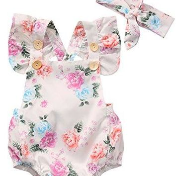 Baby Girls' Full Flower Print Buttons Ruffles Romper Bodysuit with Headband (70(0-6M), White)