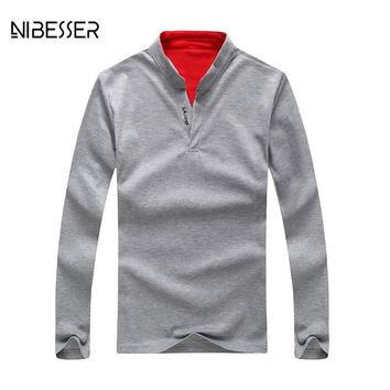 NIBESSER Brand Simple Design Polo Shirts Men Long Sleeve Stand Collar Shirts Men Slim Casual Polo Shirts Tops Tee Antumn Spring