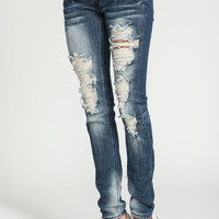 True Blue Shredded Skinny Jeans