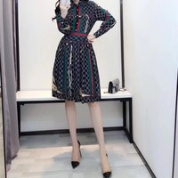 """Gucci"" Retro Temperament Fashion Multicolor Stripe GG Letter Print Long Sleeve Lapel Shirt Dress"