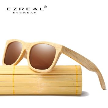 EZREAL New Fashion Products Men Women Glass Polarized Bamboo Sunglasses Retro Vintage Wood Lens Wooden Frame Handmade EZ042