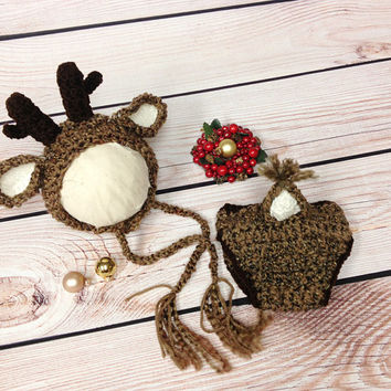Reindeer, Crochet Reindeer Hat, Diaper Cover, Photography Prop, Photo Prop, Rudolph, Newborn, Baby, Beanie, White Tail Deer, Baby White Tail