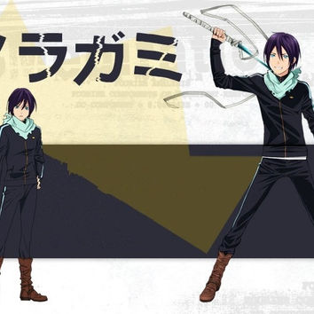 New Anime Noragami Yato Cosplay Costume Coat Whole Set Clothes + Pants + Scarf Slim Sports Suit S/M/L/XL