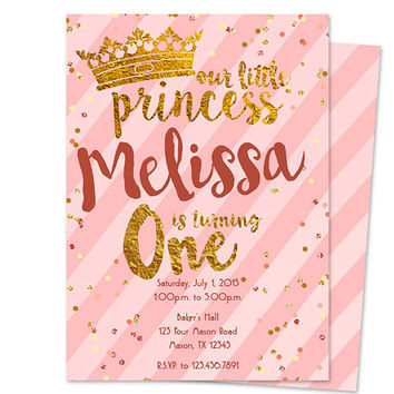 Princess 1st Birthday Invitation Girl - 1st Birthday Invitation Pink and Gold - Stripes - Gold Foil Glitter - ONE Birthday Party Girls Rose