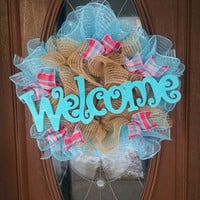 "Deco Mesh Wreath, Year Round Wreath, Welcome Sign, Ruffle Deco Mesh, Pink & Turquoise Plaid Ribbon, 21"" Indoor/Outdoor Wreath"