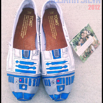 R2D2 STAR WARS - Toms - New Shoes Included - Made to Order - Classic Toms or Ballet Flats