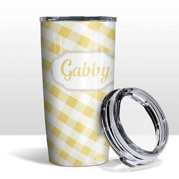 Yellow White Gingham Tumbler Cup - 20oz Insulated Stainless Steel and Clear Lid - Hot or Cold Beverages - Made to Order