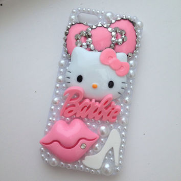 Studded Pink Kitty Flowers Barbie Bling iPhone 5 Protective Cell Phone Case Cover