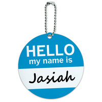Jasiah Hello My Name Is Round ID Card Luggage Tag