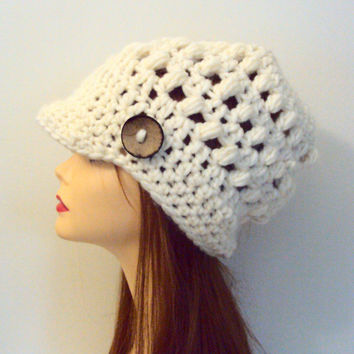 Brim Hat Beanie Knit Wool Ivory Hat with Button Newsboy Cap Crochet Slouchy Winter Hat Women Fashion Accessories Gift Ideas
