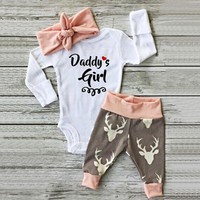 girls 2 piece outfit Newborn Baby Romper +Pants Hairband Outfits