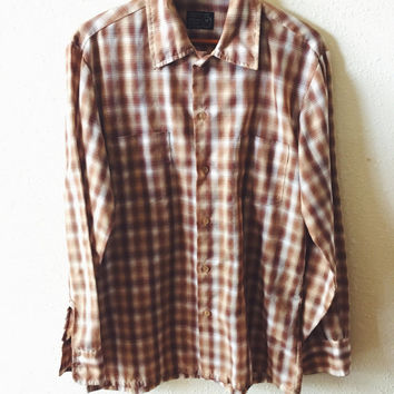 Vintage, 1970s, JCPenney, Long Sleeve, Mens, Brown, Plaid, Cotton, Dress Shirt, Size Medium