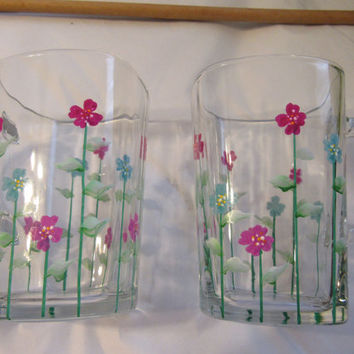 Hand Painted Clear Glass Coffee Mugs - Red, Blue, and Purple Flower Accents - Set of Two