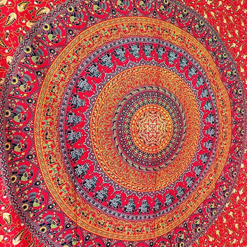 RED mandala elephant tapestry cotton hippie wall hanging tapestries twin boho bohemian bedding throw ethnic wall home decorative art