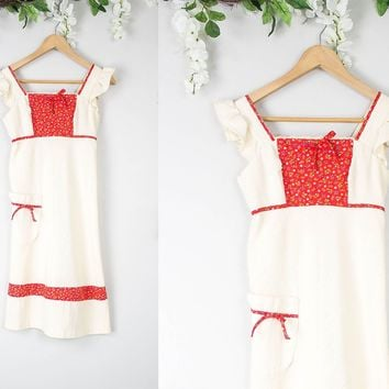 Vintage 70s Hippie Peasant Linen Dress