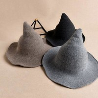 LMFCI7 Korean witch pointed tip wool hat Korean winter and summer hat women knit shaman hat fisherman basin cap for women lady c074