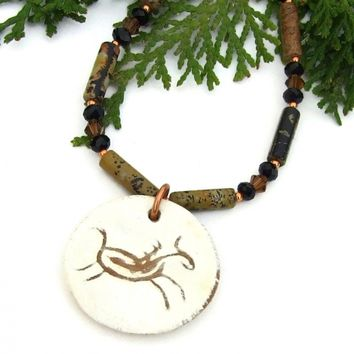 Petroglyph Running Horse Necklace, Picasso Jasper Southwest Jewelry