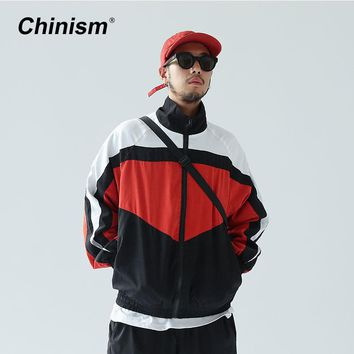 CHINISM 2017 New Vintage Color Block Zip Up Jackets Brand Embroidery Stand Collar Contrast Jacket Hip Hop Casual Track Jackets