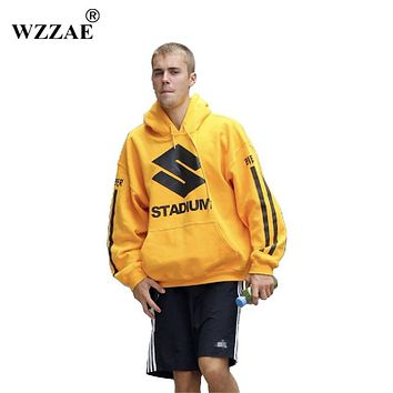 WZZAE 2017 New Yellow Hoodies Hip Hop Men Women Stadium Justin Bieber Printed Purpose Tour Sweatshirts Men Hooded Sweatshirts