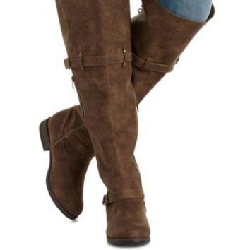 Taupe WIDE FIT Laced Over-the-Knee Boots by Charlotte Russe