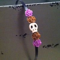 Skull and flowers headband  by nicolediandra on Etsy