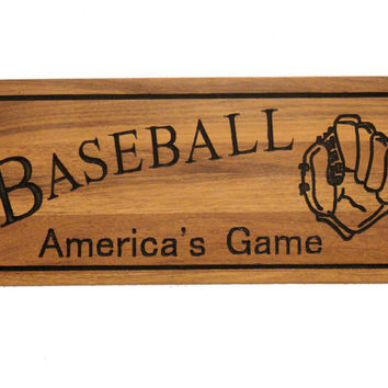 Custom Wood Sign - Engraved Wood Sign - Baseball Sign - Garage Decor