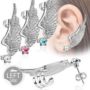 Angel Wing WildKlass Ear Cuff with Star CZ Stud 316L Surgical Steel (Sold by Piece)