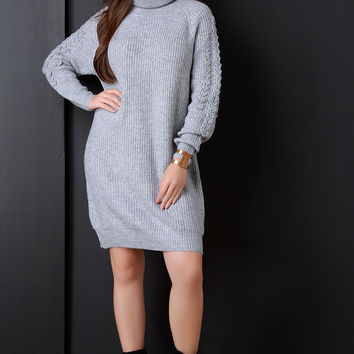 Chunky Knit Turtleneck Chevron Sleeves Sweater Dress