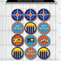 Printable Cupcake Toppers, Nerf, Game Party, Game On, Teen, Shooter, Hunting, Tag, Gun, Toy,  Birthday, Decorations, DIY,  INSTANT DOWNLOAD