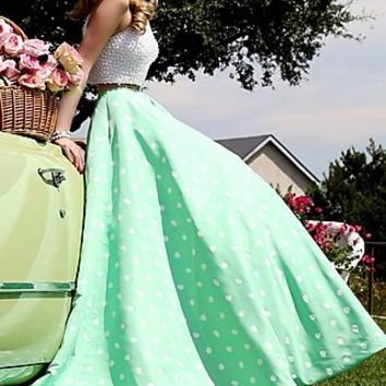 Long High Neck Polka Dot Gown by Sherri Hill