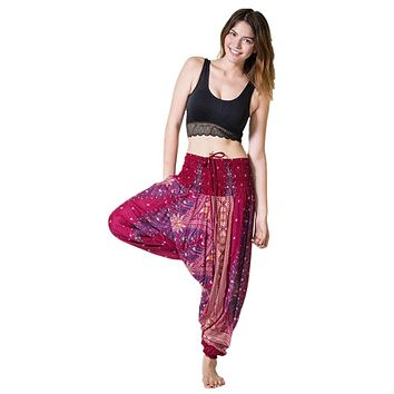 Summer Loose Yoga Trousers Baggy Boho Aladdin Jumpsuit Harem Pants