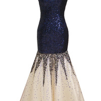 Blue nude sequin V neck mermaid long prom dress evening cruise wear 9053BL