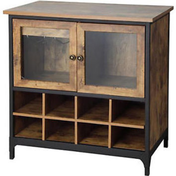 Rustic Wine Cabinet Kitchen Storage Buffet Vintage Country Sideboard Wood Pine