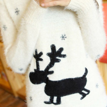 Fuzzy Reindeer Sweater