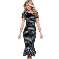 Vfemage Womens Elegant Vintage Floral Flower Print Pinup Stretch Casual Party Bodycon Fitted Mermaid Midi Mid-Calf Dress 2158