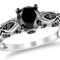1 1/4 Carat Black Diamond 14K White Gold Engagement Ring with Black Rhodium
