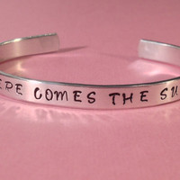 Beatles Inspired  Here Comes The Sun  Aluminium Bracelet  1/4 Inch Wide