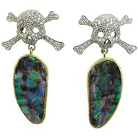 K. Brunini Jewels Australian Opal and Diamond Pirate Earrings