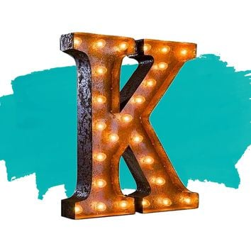 "24"" Letter K Lighted Vintage Marquee Letters (Rustic)"