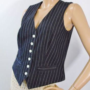 Ralph Lauren Punk Vest Black Denim Pinstripe Lauren Jeans Co Womens Sz M