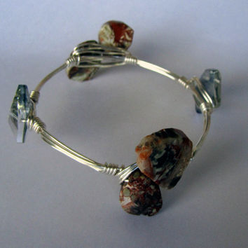 Wire Wrapped Stackable Bracelet - Jasper and Crystal