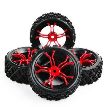 4Pcs RC 1/10 Racing Off Road Rally Tires & Wheel Rubber Tyres 12mm Hex Rim For RC 1:10 Car   Parts & Accessory