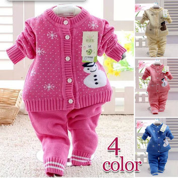 Retail 2017 spring autumn winter children clothing set new style baby boy girl set 2 pieces knit Snowman sweater sets 7-24M