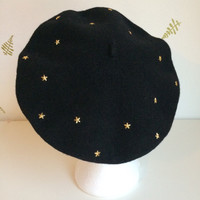 1990's Black Wool Beret / Gold Star Studs / Vintage 90s