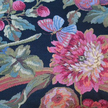 Vintage Jacquard Tapestry Fabric Panel Bird Fruit Flowers on Black Background High End Designer Baroque Tapestry Fabric  52 x 35 inch