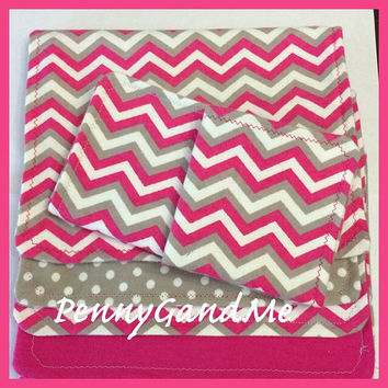 Pink Chevron Gift Set 3 Burp Cloths 2 Wash Cloths Flannel