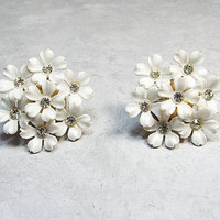 Vintage Rhinestone Earrings Coro Magic Magnetic Magnet White Flower Mid Century Mod 1960s Floral Jewelry Gold Tone Plastic Fashion Jewellery