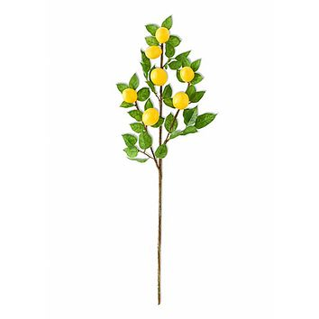 """Fake Fruit and Leaf Branch with Lemons - 30"""" Tall"""