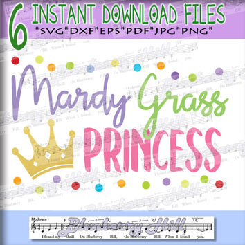 Mardi Gras princess SVG - Girls Mardi gras Cut File - Mardi gras cuttable file -Silhouette Cut Files - DIY- Svg - Dxf- Eps - Png -Jpg - Pdf