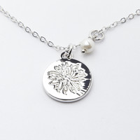Rhodium Cactus Flower Pendant Necklace